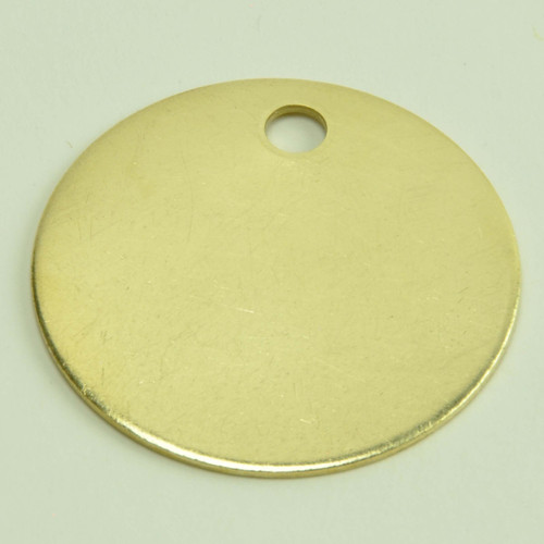 "1-1/2 Inch Round Solid Brass Tag Blank .040"" Thick US Made"