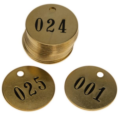 1-1/2 Inch NUMBERED SOLID Brass Tags .040 Inch Thick (STOCK)