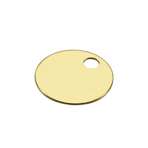 1-3/8 Inch Round Solid Brass Key Tag by Lucky Line - Imported