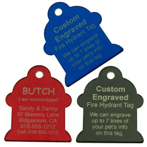 Large Fire Hydrant Pet ID Tag - Engraved