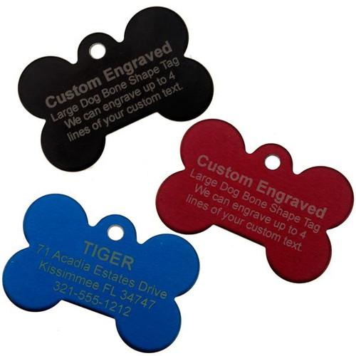 Large Dog Bone Pet ID Tag - Engraved