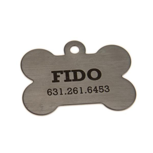 Large Dog Bone Tag Stainless Steel - PERSONALIZED