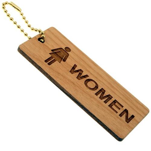 Solid Wood Medium Rectangle Women's Restroom Keytag  - 1-3/4 Inch x 4 Inch