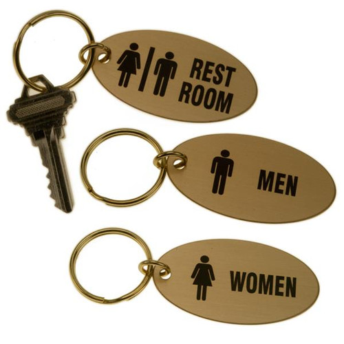 Lacquered Brass Oval Key Tag for Bathrooms