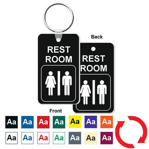 Double Sided Restroom / Bathroom Key Tag - Engraved Mini 1-3/4 Inch x 3 Inch. Heavy duty plastic black with white lettering. Nickle plated split ring with a fold over tab connector.  Color options