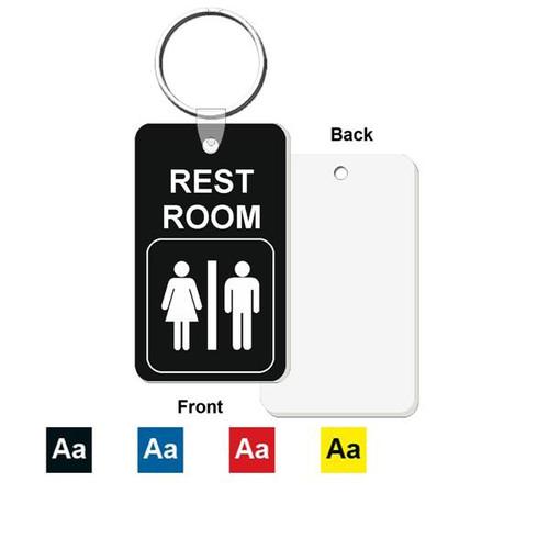 Restroom / Bathroom Key Tag - Engraved Mini 1-3/4 Inch x 3 Inch
