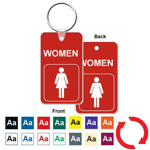 Double Sided Women's Restroom Key Tag - Engraved Mini 1-3/4 Inch x 3 Inch. Heavy duty plastic red with white lettering. Nickle plated split ring with a fold over tab connector. Color options