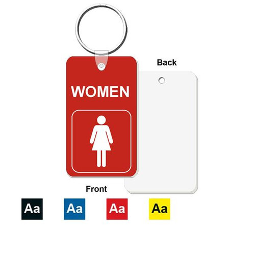 Women's Restroom Key Tag - Engraved Mini 1-3/4 Inch x 3 Inch. Heavy duty plastic red with white lettering. Nickle plated split ring with a fold over tab connector. Color options