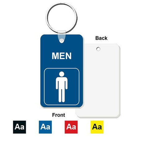 Men's Restroom Key Tag - Engraved Mini 1-3/4 Inch x 3 Inch