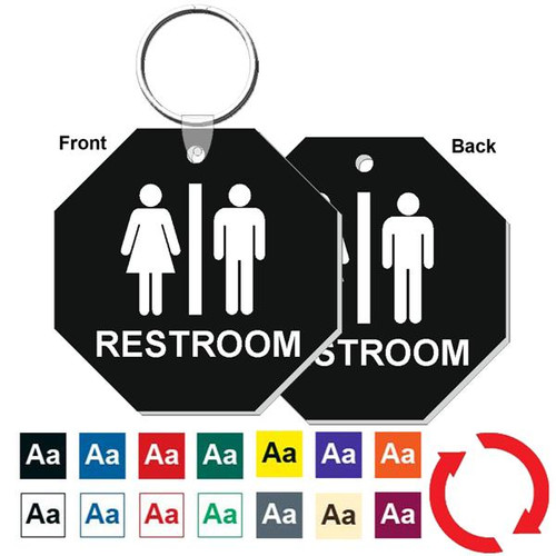 Double Sided 3 Inch Octagon Restroom Keytag