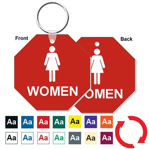 Double Sided 3 Inch Octagon Womens Restroom Keytag