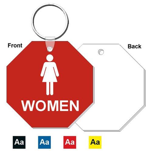 3 Inch Octagon Womens Restroom Keytag