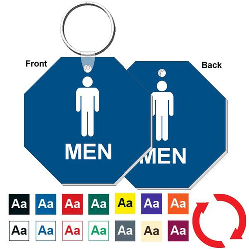 Double Sided 3 Inch Octagon Mens Restroom Keytag
