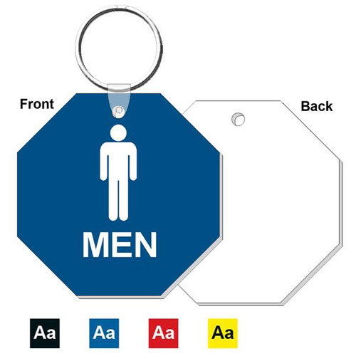 3 Inch Octagon Mens Restroom Keytag