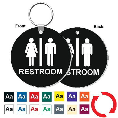Double Sided 3 Inch Round Restroom Keytag