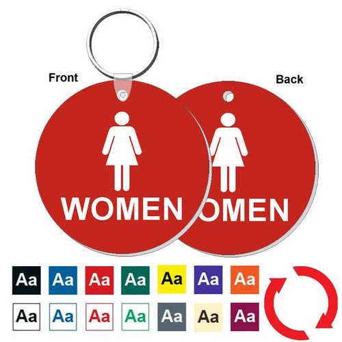 Double Sided 3 Inch Round Women's Restroom Keytag