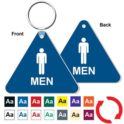 Double Sided Triangle Mens Restroom Keytag