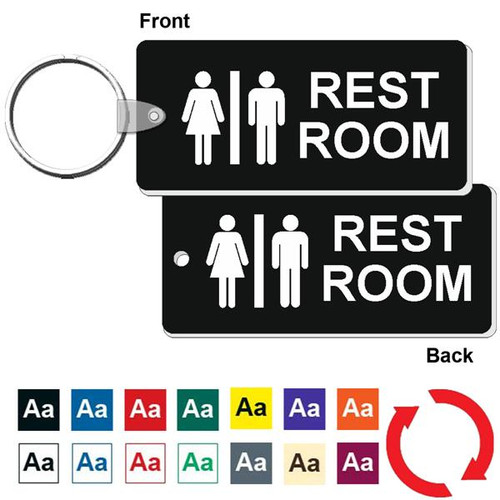 Double Sided Medium Rectangle Restroom Keytag - 1-3/4 Inch x 4 Inch