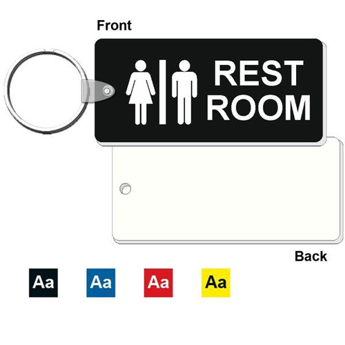Medium Rectangle Restroom Keytag - 1-3/4 Inch x 4 Inch. Made of a heavy duty plastic with a plastic fold over tab and nickel platted split key ring. Pic of front and back with color options