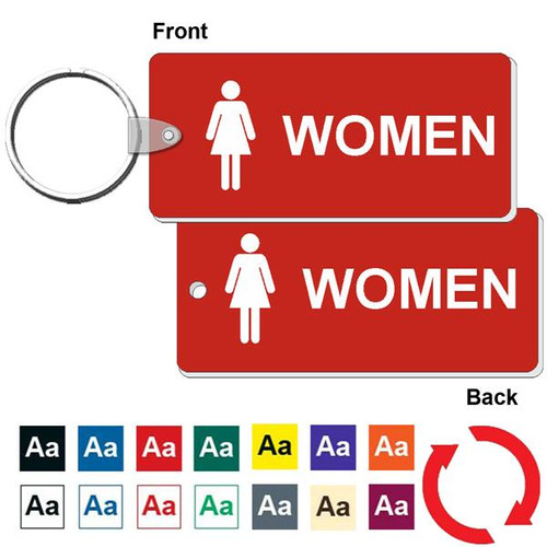 Double Sided Medium Rectangle Women's Restroom Keytag - 1-3/4 Inch x 4 Inch. Made of a heavy duty plastic with a plastic fold over tab and nickel platted split key ring. Pic of front and back with color options