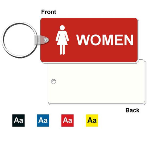 Medium Rectangle Women's Restroom Keytag - 1-3/4 Inch x 4 Inch