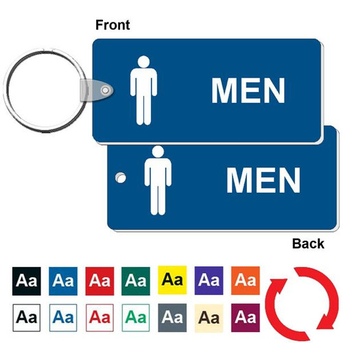 Double Sided Medium Rectangle Men's Restroom Keytag - 1-3/4 Inch x 4 Inch. Made of a heavy duty plastic with a plastic fold over tab and nickel platted split key ring. Pic of front and back with color options