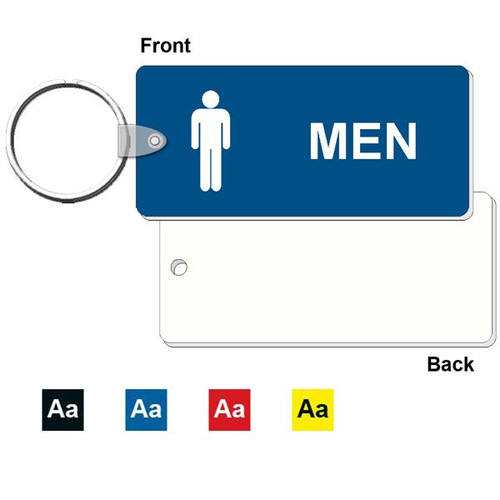 Medium Rectangle Men's Restroom Keytag - 1-3/4 Inch x 4 Inch