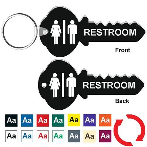 Double Sided 4 Inch Key Shape Restroom Keytag