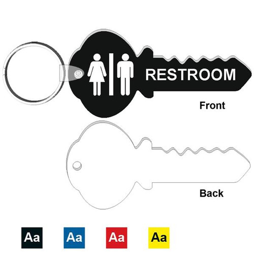 4 Inch Key Shape Restroom Keytag. Made of a heavy duty plastic with a plastic fold over tab and nickel platted split key ring. Pic of front and back with color options