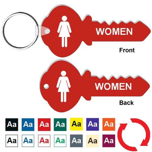 Double Sided 4 Inch Key Shape Womens Restroom Keytag