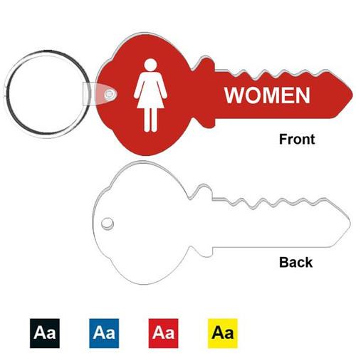 4 Inch Key Shape Womens Restroom Keytag