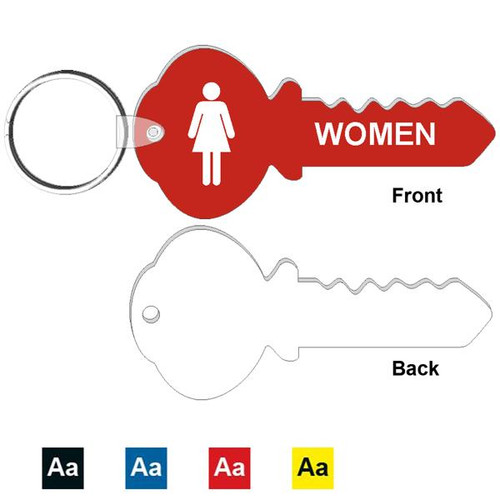 4 Inch Key Shape Women's Restroom Keytag. Made of a heavy duty plastic with a plastic fold over tab and nickel platted split key ring. Pic with color options