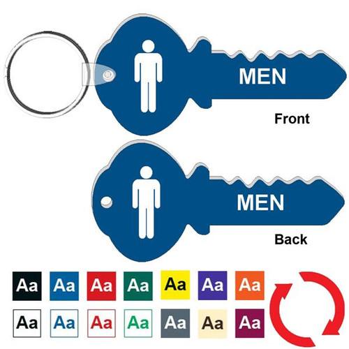 Double Sided 4 Inch Key Shape Mens Restroom Keytag