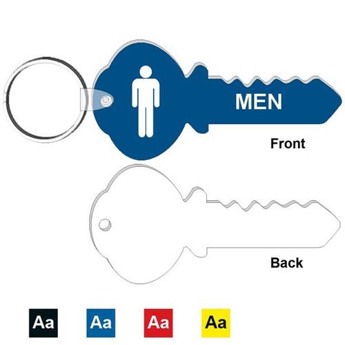 Mens Restroom Key Shape Engraved Keyring