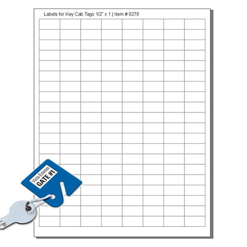 White Labels for Slotted Key Cabinet Tags 160 Labels to a Sheet - Pack of 12 Sheets