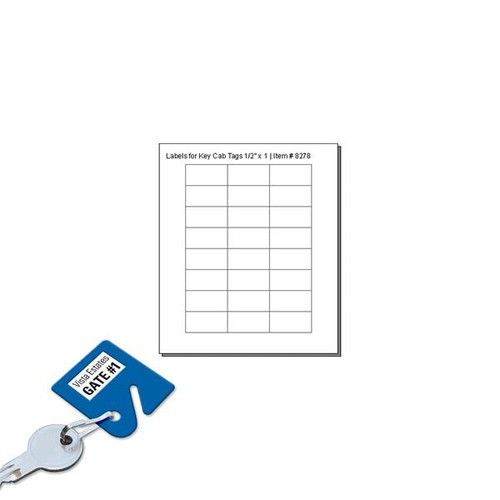 CLEAR Cover Labels For Key Cabinet Tags - 24 Labels to a Sheet - Pack of 12 Sheets