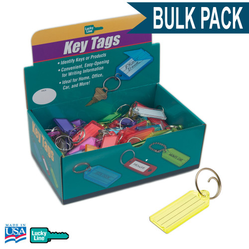 Standard Key Tag with Tang Ring Bulk Pack of 100 ASSORTED COLORS