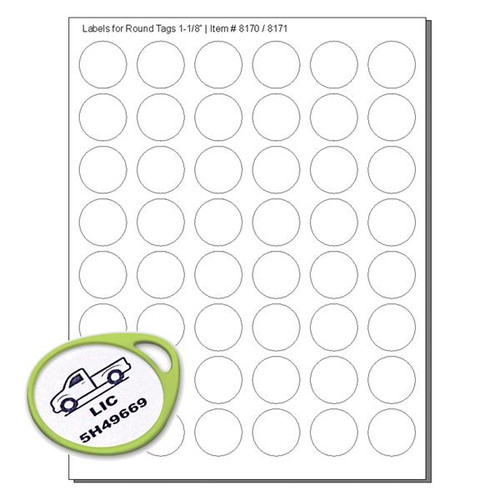 WHITE Labels For 8170 ROUND Tags - 48 Labels to a Sheet - Pack of 12 Sheets