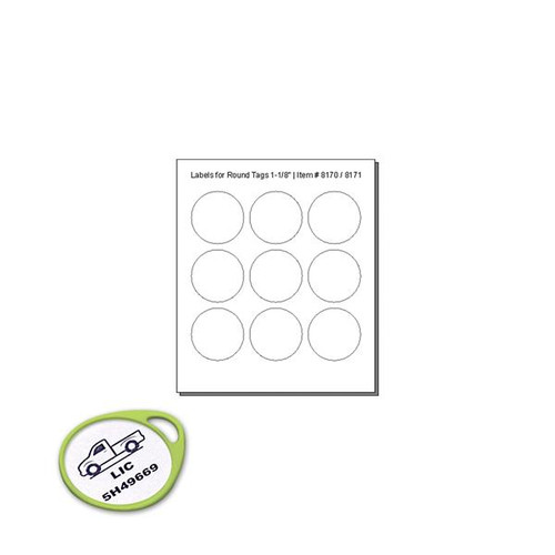 CLEAR Cover Labels For 8170  ROUND Tags - 9 Labels to a Sheet - Pack of 12 Sheets