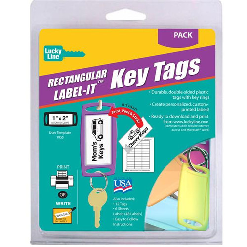 Large Rectangle Label-It Tags Assorted Colors 12 Tag Starter Pack (with labels)