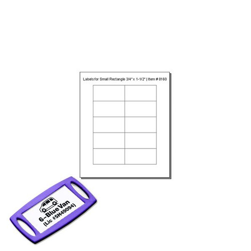 CLEAR Cover Labels For 8160 SMALL Rectangle Tags - 10 Labels to a Sheet - Pack of 12 Sheets