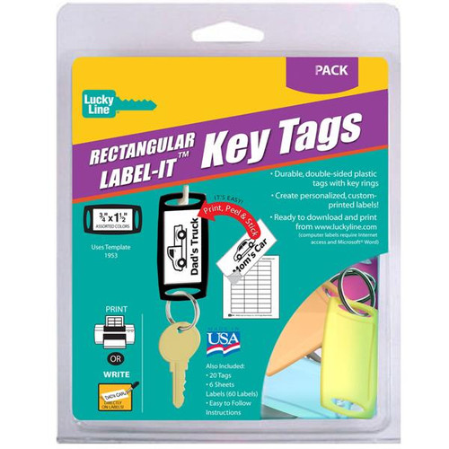 Small Rectangle Label-It Tags Assorted Colors 20 Tag Starter Pack (with labels)