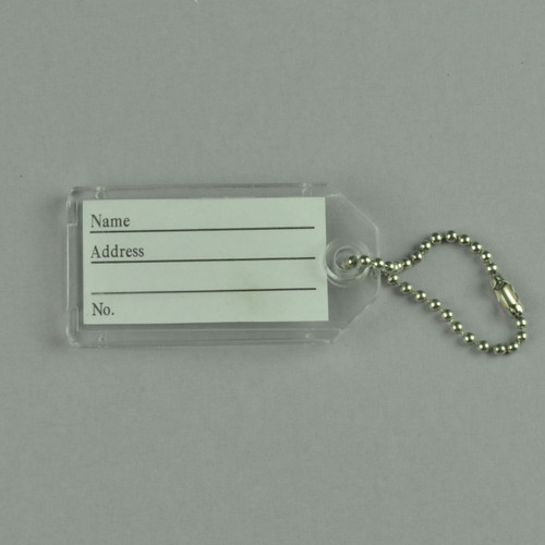 Key Identifier Tag Plastic Keytag with Bead Chain Keyring - CLEAR ONLY