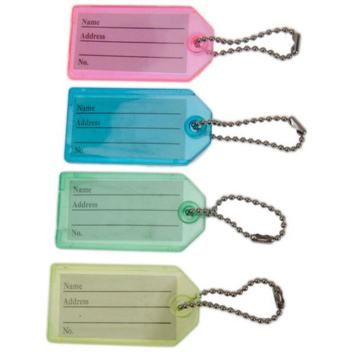 Key Identifier Tag Plastic Keytag with Bead Chain Keyring - Each by Color