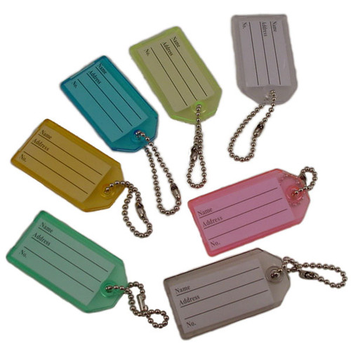 Key Identifier Tag Plastic Keytag with Bead Chain Keyring - Pack of 8