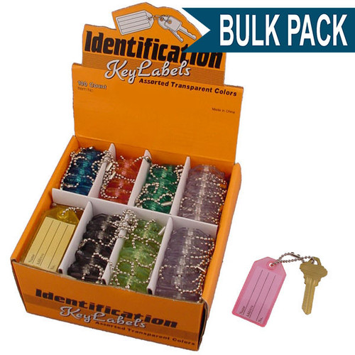 Key Identifier Tag Plastic Keytag with Bead Chain - Bulk Pack Assorted