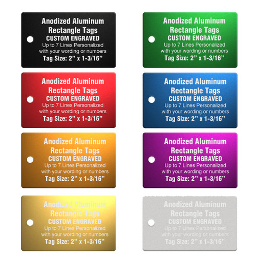 Rectangle Aluminum Tags with Custom Engraving