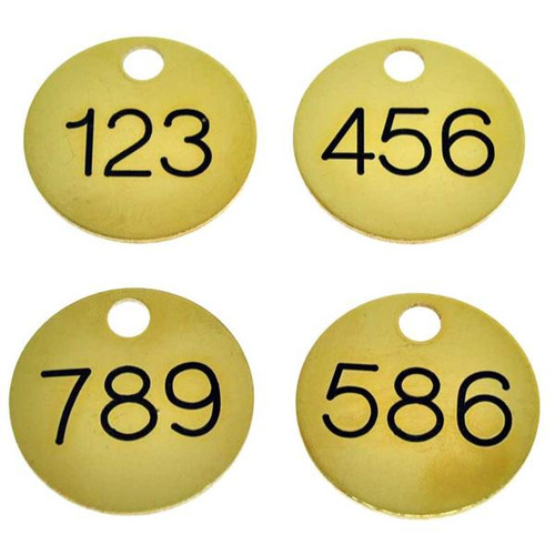 1.25 Inch Round Solid Brass Key Tag - Numbered