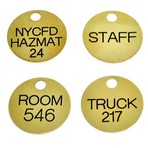 1.25 Inch Round Solid Brass Key Tag - Custom Engraved