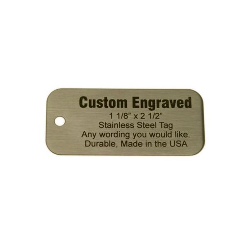 "Stainless Steel Tag 1.125"" x 2.5"" - CUSTOM ENGRAVED"